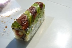 Dragon Roll - Eel and Avocado w. Spicy Tuna and Cucumber Filling