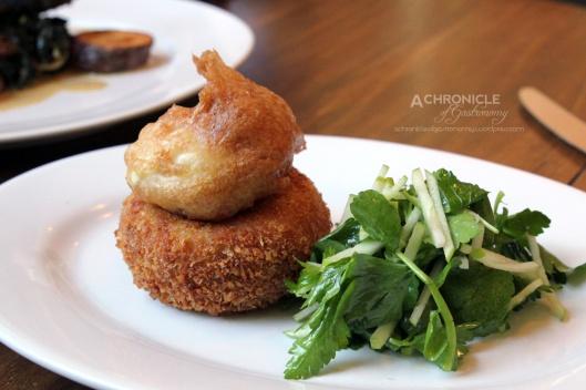 Salt Ling Potato Cake, Battered Egg, Watercress & Apple Salad ($16)