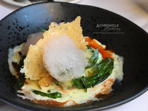 Ricotta + Spinach 'Gnudi' Gnocchi With Tomato Essence, Parmesan Crisp and Basil