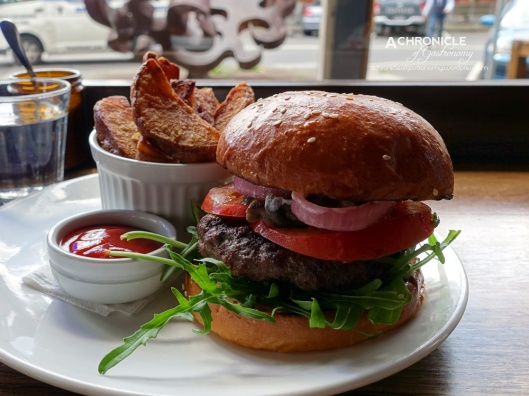 The Euro - Wagyu Pattie, Mushroom, Rocket, Tomato, Pickled Onion, Horseradish Cream and Hand Cut Chips ($15.70)