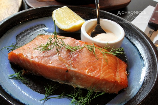 Salmon - Brined for 8 hours in Salt, Sugar and Spices. Smoked using Apple Wood, Dill Sauce (250g, $23)