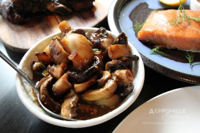 Glazed Mushrooms - Fried Butter Mushrooms Glazed w. Soy Reduction, Dressed w. Spring Onions and Roasted Sesame Seeds (medium serve, $10)