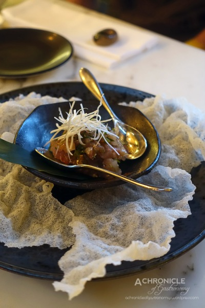 Hiramasa Namerou - Signature Japanese-Style Kingfish Tartare w. Wasabi Stem And Moromi Miso, Served w. Delicate Rice Crackers $16