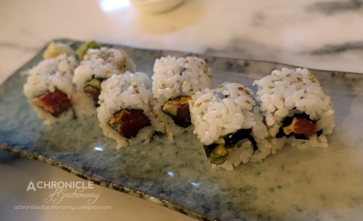 Spicy Tuna Maki - Tuna, Chilli-Mayo And Tankasu Inside-Out Sushi Roll Coated w. Sesame Seeds $12