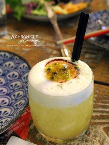 A.K. Sour - Freshly Bruleed Passionfruit, Frangelico, Vodka, Lime, Sugar, Passionfruit