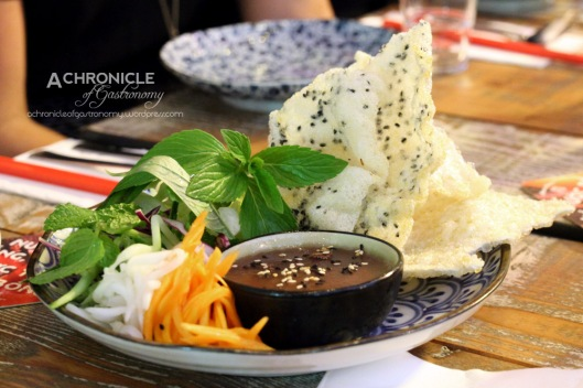 House-made Pork and Chicken Liver Pate Served w. Mixed Pickled Vegetables and Sesame Rice Crackers