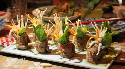 Wagyu Beef Roll w. Carrot, Thai Basil, Enoki