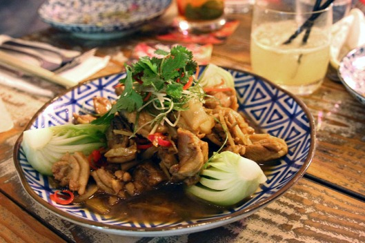 Ginger Chicken w. Onion, Tomato, Green Shallot, Sesame Oil and Oyster Sauce