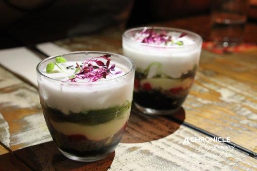 Chè - Layered Dessert w. Black Jelly, Green Jelly, Coconut Cream, Jackfruit, Chestnut, Basil Seeds