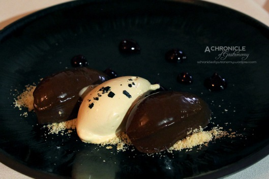 Home-made Salted Caramel Ice Cream, Chocolate Mousse, Crushed Sable, Berry Sauce
