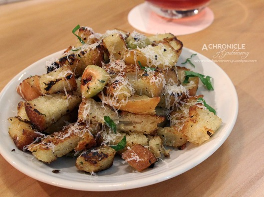 Fried Bread, Green Olives, Lemon, Chilli, Garlic, Pecorino
