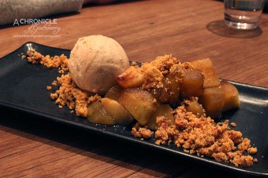 Hercules Morse (30) Deconstructed Apple Pie - Tarte Tatin Apples, Pecan & Cheddar Crumble, Apple-Balsamic Reduction and Cinnamon Ice Cream ($13)