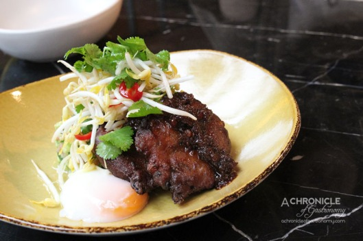 Red Spice QV Sweet Corn Fritters with Poached Duck Egg, Coriander, Chilli Jam, Avocado Salsa ($19.50)