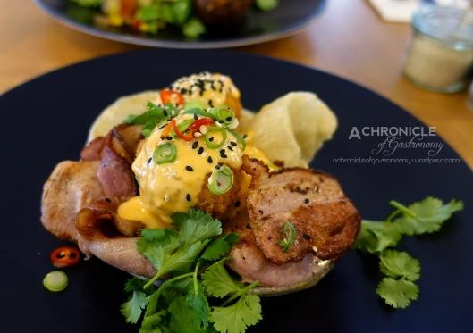 Sir Charles (36) Sir Charles Benedict w. Panko Crumbed Eggs, Sriracha Hollandaise, Bacon, Roti ($18)