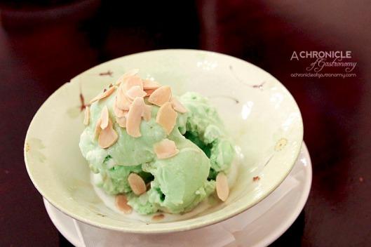 Masak Ku - Pandan Ice Cream Drizzled with Coconut Cream and Palm Sugar, Toasted Almond Flakes ($7.90)